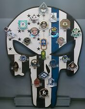 * Custom * Punisher T.B.L. 24-Challenge Coin display / holder - wall mount