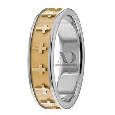 Religious Christian Mens Wedding Band 10K Gold Two Tone 6mm Cross Wedding Ring