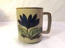 Vintage Otagiri Style Blue Brown Speckle Flower Floral Coffee Cup or Mug