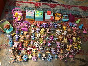 Lot of 80 plus Littlest Pet Shop LPS Various Pets Animals Figurines