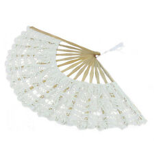 Wihte Handmade Cotton Lace Folding Hand Fan for Party Bridal Wedding Decor Hot