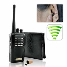 Walkie Talkie Wallet Earpiece Spy Hidden Bug Transmitter Set Student Cheat Copy