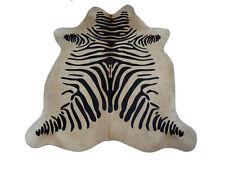 Kuhfell Rinderfell Stierfell Cowhide Beige mit Zebra Druck