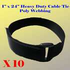 """10X 1"""" x 24"""" Heavy Duty Loop and Hook Fastener Cable Tie Straps Poly Webbing"""