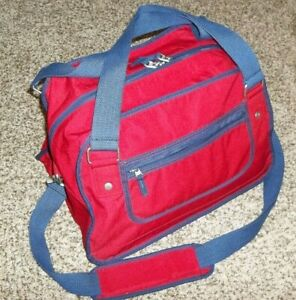 """Pottery Barn Kids Red Navy Blue Carry-On Duffle Duffel Bag Travel Gym 15"""" wide"""
