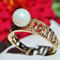 14k yellow gold 7mm freshwater pearl nugget ring size 6 vintage handmade  2.5gr