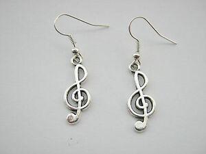 """Treble Clef Music Earrings 25mm (1"""") Silver Plated Music Jewellery Drop Earrings"""