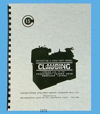 "Clausing Colchester 13""x24 & 13""x36 Lathe Instruction & Parts List Manual *1272"
