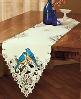 Embroidered Spring Floral Table Linens Blue Bird Runner Scalloped Cutout Linen
