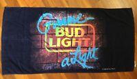 """Vtg 1988 Bud Light Beach Towel - Measures 56"""" x 28"""" - Budweiser 'Gimme A Light'"""