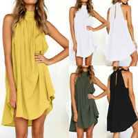 Chic Womens Holiday Irregular Ladies Summer Beach Sleeveless Party Dress S-2XL