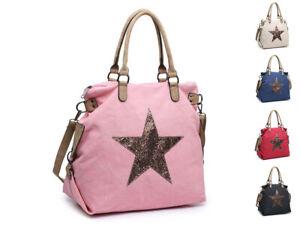 Large Shoulder Handbag Shopper Weekender Shining Star bag Woman Lady Canvas UK