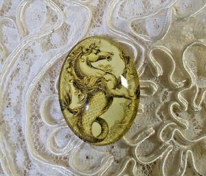 Antique Sea Horse 30X40mm Glitter Unset Handmade Glass Art Bubble Cameo Cabochon