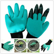 Gardening Rubber Garden Genie Gloves with 4 Digging & Planting Plastic Claws NEW
