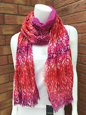 RALPH LAUREN DOUBLE FACED PINK/RED/PURPLE TIE DYE COTTON CRINKLE SCARF BNWT