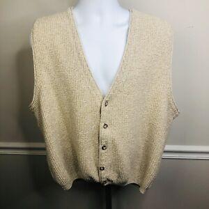 Eddie Bauer Vintage 100% Cotton Cardigan Cable Knit Sweater Vest large Beige