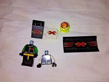LEGO Extreme Team Partial Minifigures, parts w/ logo, flame helmet; Used. 7 pcs