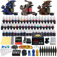 Complete Tattoo Kit 3 Tattoo Machine Guns Set 54 Ink Power Supply Needle TK353