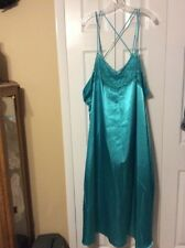 Woman Within Turquoise Long Satin Robe NightgownW/ Lace Peignoir Set Plus Sz 4X