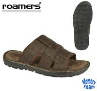 MEN/'S BROWN LEATHER SLIDES SANDALS MULES SIZES 11 or 12 BRAND NEW!
