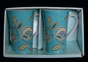 2 WILDFIELD BRIGHTS Jacobean Paisley Turquoise Peacock Latte Mugs 222 Fifth NIB