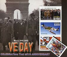 Guyana 2005 MNH WWII VE Day End World War II 3v M/S Churchill De Gaulle Stamps