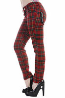 BANNED RED TARTAN SKINNY LADIES JEANS GOTHIC NEW EMO PUNK