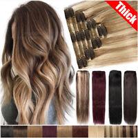 Luxury 170G+ THICK Clip In Remy Human Hair Extensions Double Weft Full Head Real