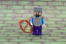 Lego Mini Figure Minecraft Steve with Helmet and Armor from Set 21126