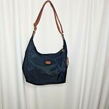 Longchamp Le Pliage cross-body hobo bag purse black nylon brown trim