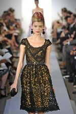 Oscar de la Renta S'13 NWT $8.5K Black Yellow Ruffle Embellished Dress Gown 6US