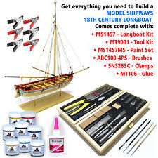 MODEL SHIPWAYS HISTORIC LONGBOAT KIT W/TOOLS, PAINTS, BRUSHES, GLUE & CLAMPS $89