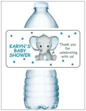 20 ELEPHANT BABY SHOWER PARTY Water Bottle Labels Personalized PINK OR BLUE