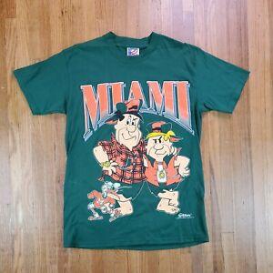 Vintage Flintstones Miami Hurricanes T Shirt sz Medium NCAA Football College