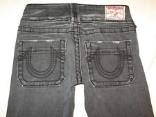 True Religion Jeans Womens Sammy Big T Black Gray Distressed Sz 27