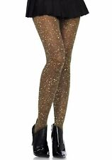 Gold Black Glitter Lurex Sheer Tights Christmas Party Fancy Dress Sparkle Fairy