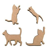 Wooden MDF Cat Shape Embellishment Decoration Shapes Playing Cats