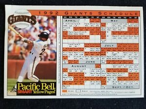 1992 San Francisco Giants Magnet Schedule - Will Clark