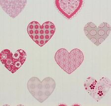 P + S HAPPY KIDS PATCHWORK STYLE HEARTS WALLPAPER PINK & WHITE 05583-10 558310