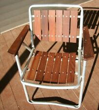 Vtg Red Wood 6-Slat Aluminum Folding Patio Lawn Camping Beach Mid Century Chair
