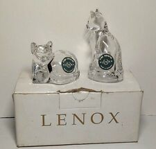Lenox Fine Crystal Made in Germany Glass Cat Kitty Salt & Pepper Shakers in Box