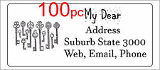 100 Personalised return address label custom sticky mailing sticker 56x25mm keys