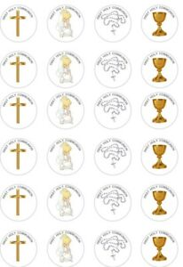 24 x PRECUT GIRLS/GOLD/SILVER FIRST HOLY COMMUNION RICE/WAFER CUP CAKE TOPPERS