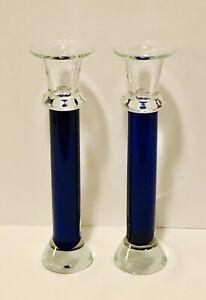 """Set (2) CRATE & BARREL COBALT BLUE STEM GLASS TAPER CANDLESTICK HOLDERS 10"""""""