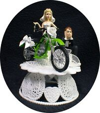 Kawasaki Wedding Cake Topper Green Off road dirt bike racing Motorcycle Funny
