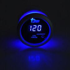 """2"""" 52mm Black Car Auto Digital Blue LED Oil Press Pressure LED Gauge Kit"""