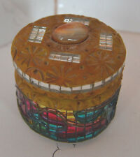 Vintage Miniature Mirrored Mosaic Jewelry Box Folk Art Trinket