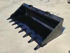 New 72heavy Duty Skid Steer Dirt Bucket With Teethbobcattractor