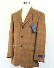 "New IBIZA 100% Wool 3 Button ""MAMBO"" Blazer Jacket WINDOWPANE Sport Coat 42L NWT"