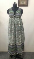 cotton green paisley printed sleeveless women's vintage long maxi dress all size